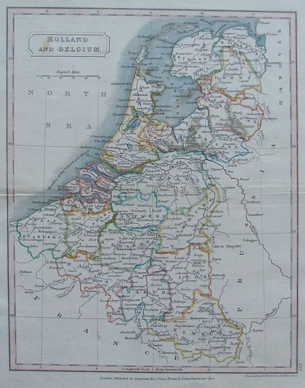 map Holland and Belgium by Hall