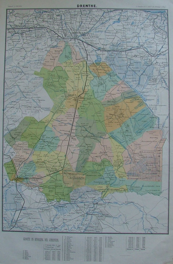 map Drenthe by J. Smulders en Co