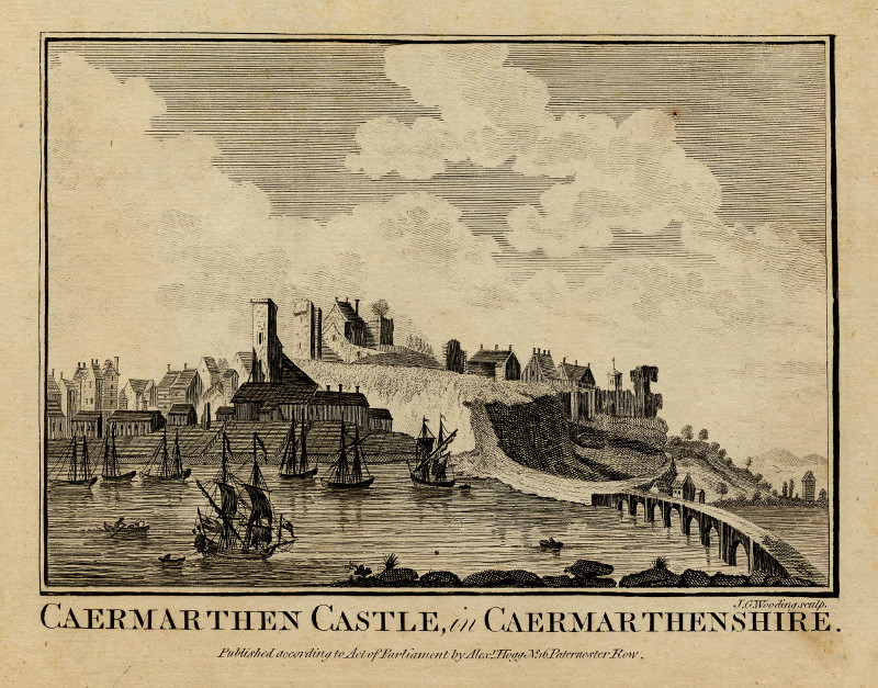 Caermarthen Castle, in Caermarthenshire by J.G. Wooding
