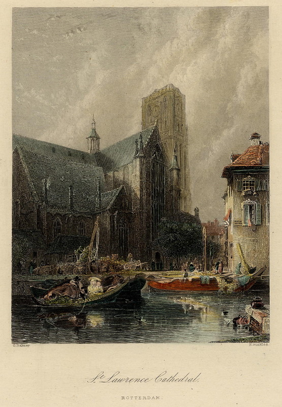 view St. Lawrence Cathedral, Rotterdam by G. Balmer, H. Winkles